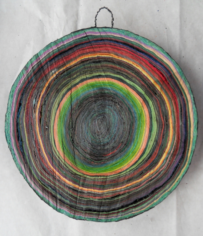 Scheibe vom bunten Baum(Ⅳ-2)/Annual rings/나이테 ∅40cmx6cm 2014-16