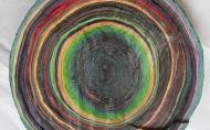 Scheibe vom bunten Baum(Ⅰ-1)/Annual rings/나이테 ∅40cmx6cm 2014-16